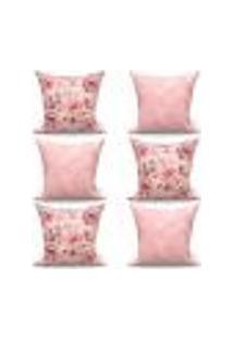 Conjunto De Capas De Almofadas Com 6 Peças Essenciale Medalhão Rosé E Rosa 60X60 Cm