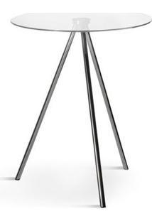 Mesa Lateral Zuri Vidro D42X52H Incolor/Cromado Etna