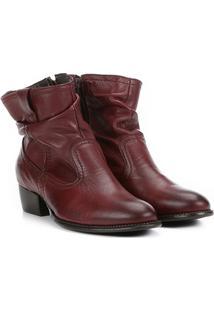 Bota Slouch Shoestock Couro Cano Curto Feminina - Feminino-Bordô