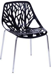 Cadeira De Jantar De Folhas- Preta- 80X54X43Cm- Or Design