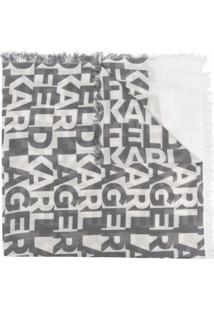 Karl Lagerfeld Echarpe Com Estampa De Logo - Preto