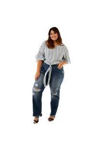 Calça Camellia Plus Size Blubetty Mom Fit Jeans Destroyed