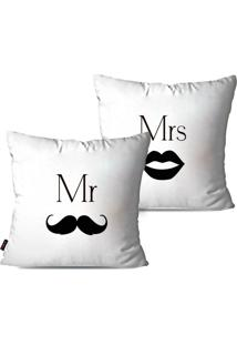 Kit Com 2 Capas Para Almofadas Decorativas Mr. & Mrs. 45X45Cm