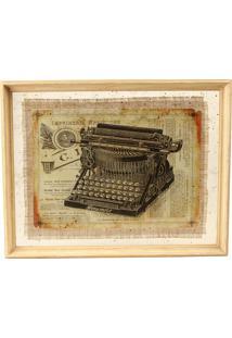 Quadro Decorativo Vintage De Parede Typewriter Com Moldura