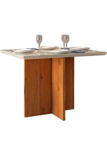 Mesa De Jantar Retangular Com Tampo De Vidro Ariel Telha E Creme 108,5 Cm