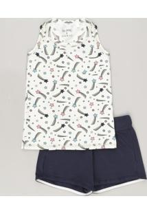 Conjunto Infantil De Regata Estampada De Estrelas Off White + Short Com Laço Azul Marinho
