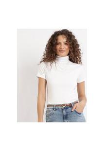 Blusa Feminina Canelada Com Botões Manga Curta Gola Alta Branca