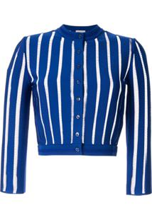 Alexander Mcqueen Stitched Stripes Cropped Cardigan - Azul