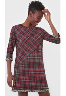 Vestido Desigual Curto Liverpool Vermelho/Preto - Kanui