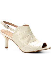 Ankle Boot Couro Shoestock Salto Fino Western - Feminino-Off White