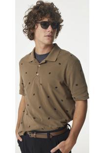 Camisa Polo Regular Masculina Em Malha Piquê De Algodão Estampada