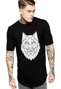 Camiseta Criativa Urbana Long Line Oversized Lobo Tribal - Masculino-Preto