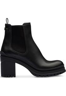 Prada Ankle Boot Com Salto Bloco - Preto