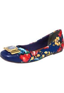 Sapatilha Cravo & Canela Floral Azul-Marinho/Amarelo/Vermelho