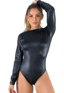 Body Costa Nua Cirre Collant Manga Longa Decote Blusa Mvb Modas Feminino - Feminino-Preto