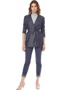 Blazer Maria.Valentina Alfaiataria Jeans Feminino - Feminino-Azul