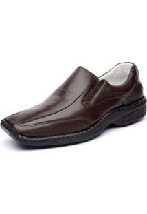 Sapato Ranster Esporte Fino Relax Bico Quadrado Couro Marrom