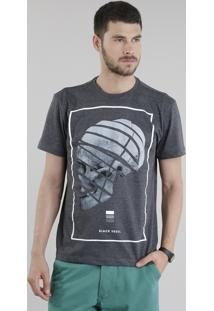 "Camiseta ""Black Skull"" Cinza Mescla Escuro"