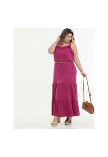 Vestido Plus Size Feminino Babado Alças Finas