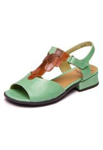 Sandalia Feminina Retro - Aqua Marine / Papaya / Jatoba 5748