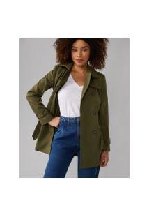 Amaro Feminino Trench Coat London Breeze, Verde Militar
