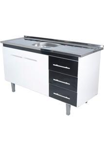 Gabinete De Cozinha Lyon 53X114,4Cm Branco E Preto Bonatto