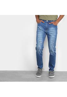 Calça Jeans Slim Oxmo Estonada Rasgos Masculina - Masculino