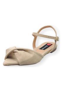 Sandália Rasteira Love Shoes Bico Folha Nó Torcido Areia