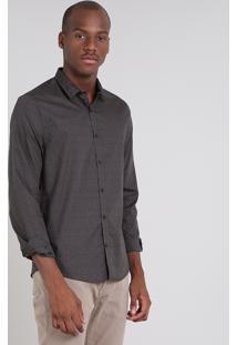 Camisa Masculina Slim Estampada Manga Longa Chumbo