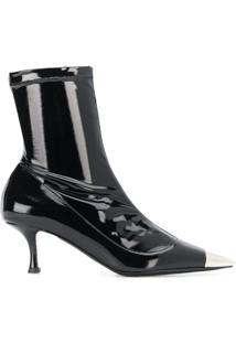 Nº21 Metallic Toe Ankle Boots - Preto