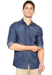Camisa Jeans Broken Rules Patch Azul-Marinho