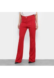 Calça Carmim Chloe Flare Cintura Alta Feminina - Feminino-Vermelho