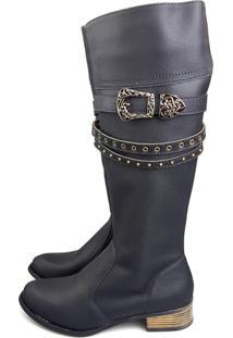 Bota Love Shoes Cano Longo Montaria Fivela Preto