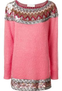 Alberta Ferretti Suéter Com Paetês - Rosa