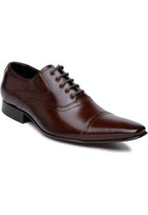Sapato Social Bigioni Masculino Estilo Italiano Com Cadarço - Masculino-Marrom