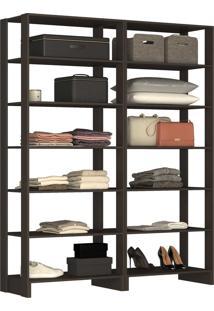 Guarda Roupa Closet 2 Peças 12 Prateleir - Tricae