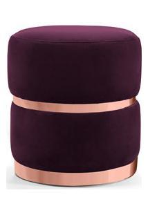 Puff Decorativo Com Cinto E Aro Rosê Round B-292 Veludo Uva - Domi