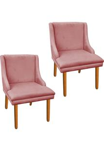 Kit 02 Cadeira Sala De Jantar Liz Suede Rose - D'Rossi
