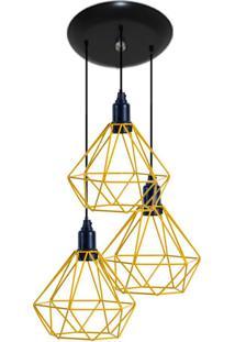 Luminaria Aramado Modelo Diamante 03 Juntos Na Mesma Canopla Amarelo