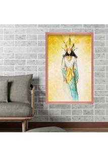 Quadro Love Decor Com Moldura Golden Woman Rose Metalizado Médio