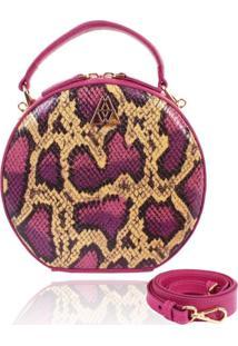 Bolsa Redonda Campezzo Couro Pink Snake Artball - Amarelo/Cobra/Pink - Feminino - Dafiti