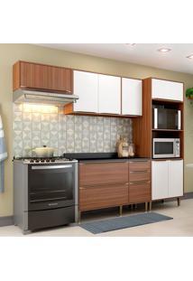 Cozinha Compacta Com Tampo 9 Portas 5457 Nogueira/Branco - Multimóveis