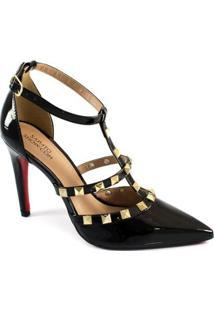 Scarpin Spikes Numeração Especial Sapato Show Feminino - Feminino-Preto