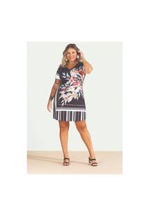 Vestido Melinde Plus Size Estampado Preto