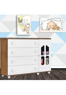 Comoda Sapateira 4 Gavetas Porta Provence Branco Acetinado Com Amendoa Planet Baby