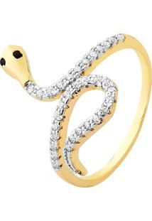 Anel Cobra Cravejado Cristais Banhado A Ouro 18K - Kanui