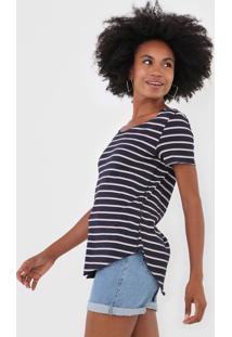 Camiseta Vero Moda Listrada Azul-Marinho/Rosa