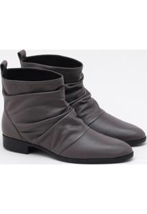 Ankle Boot Couro Cinza Platinum