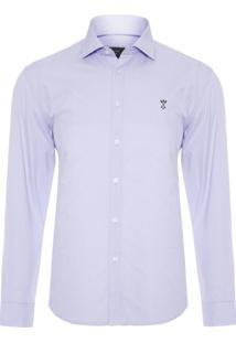 Camisa Casual Masculina Manga Longa - Lilás