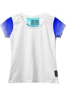 Camiseta Baby Look Feminina Algodão Estampa Estilo Leve Moda Azul Claro/Branco G Branco - Kanui